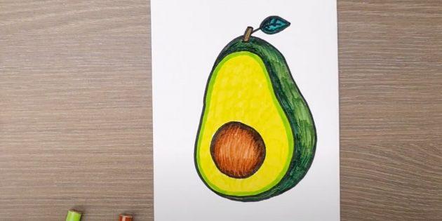 Как нарисовать авокадо: заштрихуйте черенок и листик