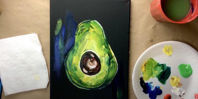 Рисунок авокадо красками