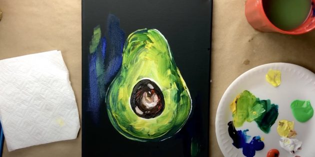 Как нарисовать авокадо: сделайте мазки на фоне