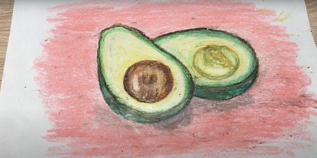 Рисунок авокадо пастелью