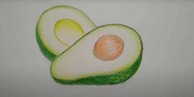 Рисунок авокадо цветными карандашами