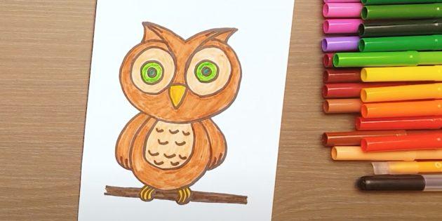 Рисунок мультяшной совы фломастерами