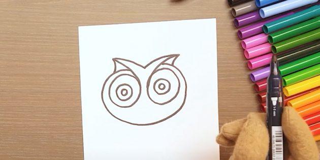 Как нарисовать сову: изобразите голову