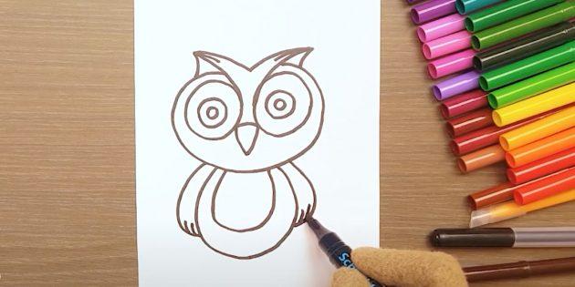 Как нарисовать сову: очертите тело