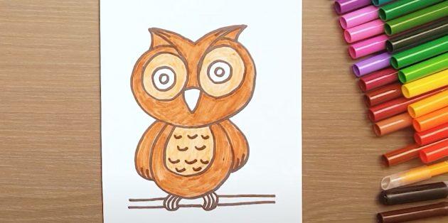 Как нарисовать сову: закрасьте тело, голову и грудь