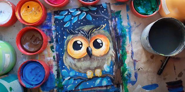 Рисунок мультяшной совы красками
