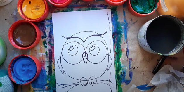 Как нарисовать сову: изобразите крылья, лапы и ветку