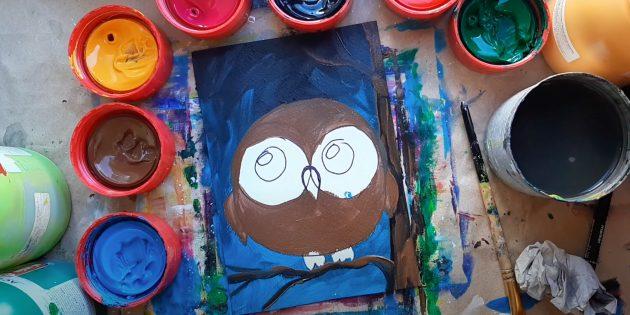 Как нарисовать сову: закрасьте дерево и сову