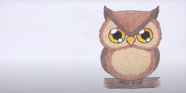 Рисунок мультяшной совы карандашами