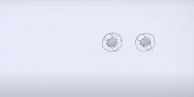 Как нарисовать сову: нарисуйте глаза