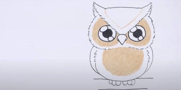 Как нарисовать сову: наметьте и закрасьте круги