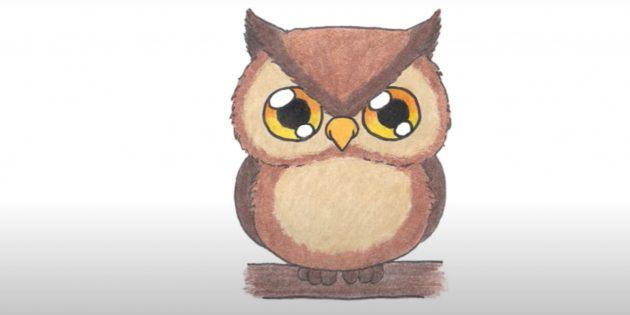Как нарисовать сову: закрасьте глаза, туловище и голову