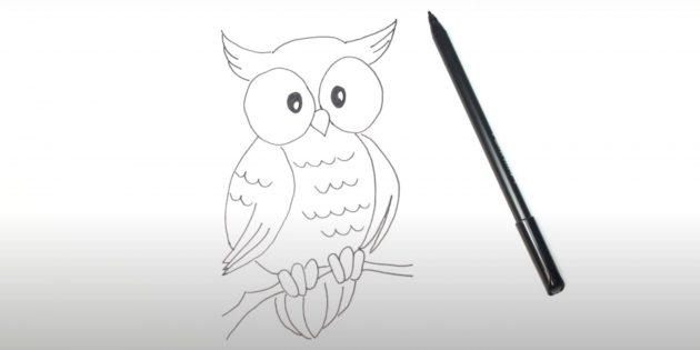 Рисунок мультяшной совы маркером
