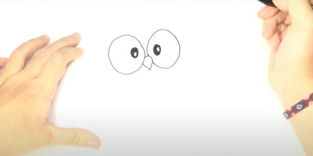 Как нарисовать сову: нарисуйте глаза и клюв
