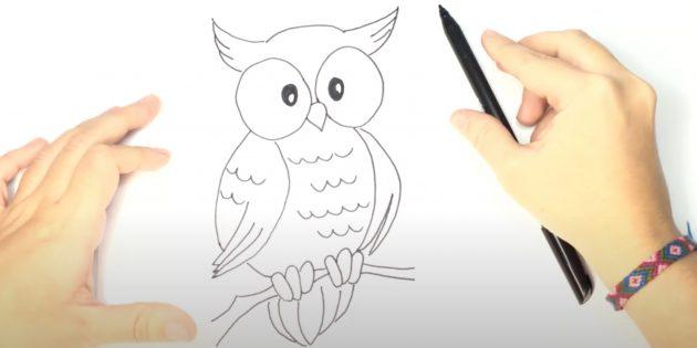 Как нарисовать сову: нарисуйте когти, ветку и хвост