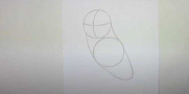 Как нарисовать сову: наметьте тело, грудь и шею