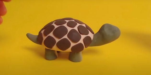 Поделка из пластилина «Черепаха»: слепите голову и хвост