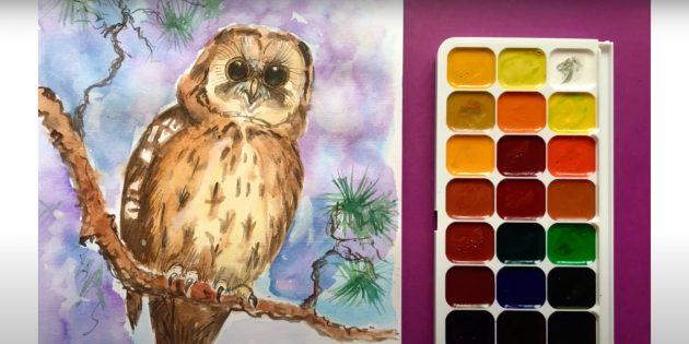 Рисунок реалистичной совы красками