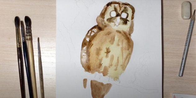 Как нарисовать сову: закрасьте крыло, хвост и голову