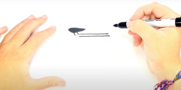 Как нарисовать велосипед: нарисуйте седло и верхнюю трубу рамы