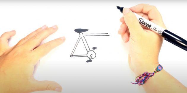 Как нарисовать велосипед: изобразите задний треугольник рамы и педали