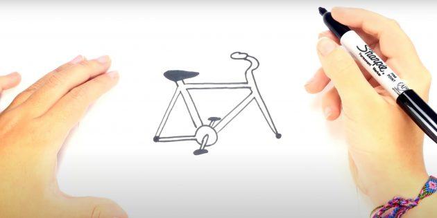 Как нарисовать велосипед: нарисуйте руль и рулевую трубу