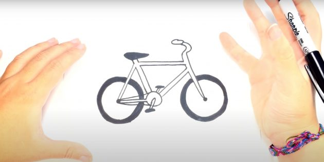 Как нарисовать велосипед: нарисуйте колёса и цепь