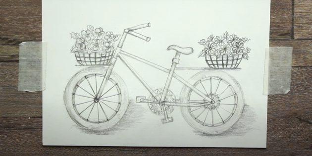 Как нарисовать велосипед: рисунок велосипеда простым карандашом