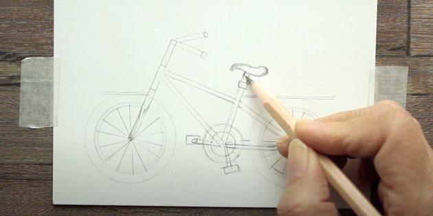 Как нарисовать велосипед: нарисуйте руль, педали и седло