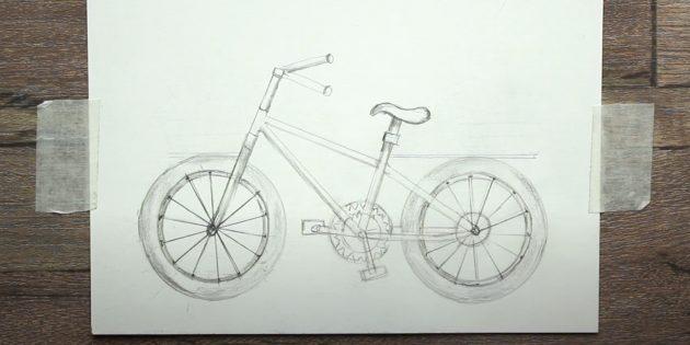 Как нарисовать велосипед: заштрихуйте колёса и добавьте тени