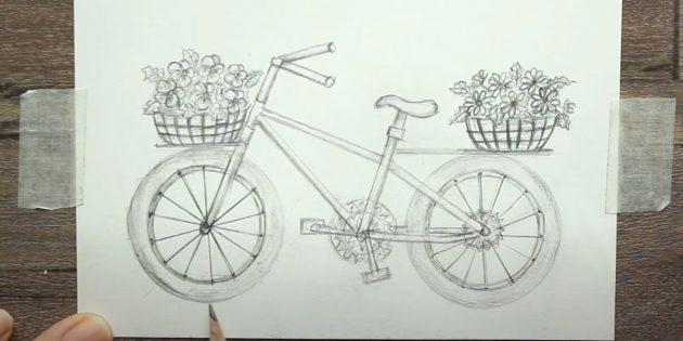 Как нарисовать велосипед: изобразите корзины с цветами