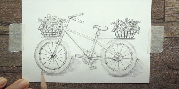 Как нарисовать велосипед: изобразите тень под велосипедом