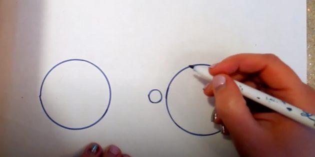 Как нарисовать велосипед: наметьте колёса