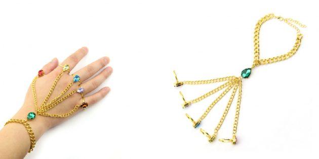 Необычные украшения: браслет с кольцами и цепочками