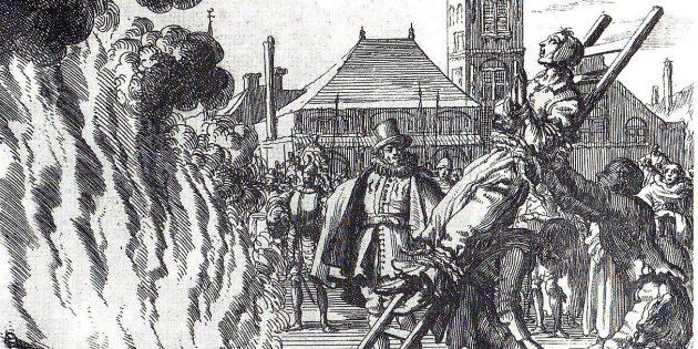Инквизиция в Средние века: «Сожжение голландского анабаптиста XVI века Аннекена Хендрикса, обвинённого в ереси», гравюра Яна Лёйкена