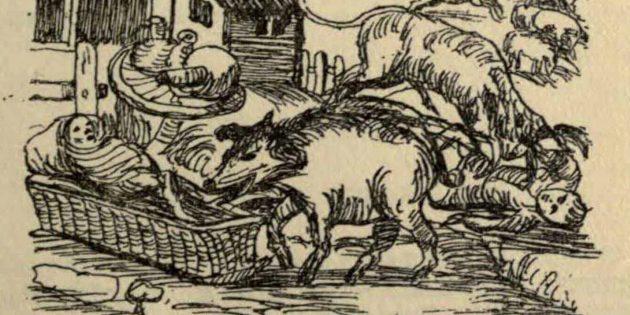 Свиньи закусывают двумя забытыми на улице детьми. Фрагмент фронтисписа «Уголовное преследование и смертная казнь животных»