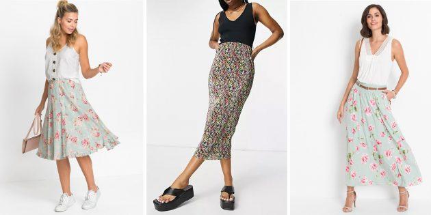 Модные юбки 2021года: свободные юбки с цветочным принтом