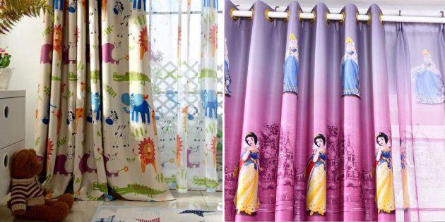 Товары для дизайна детской комнаты: шторы