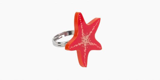 Необычные украшения: кольцо с морской звездой