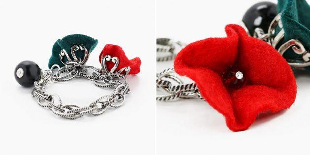 Необычные украшения: браслет с цветами из ткани