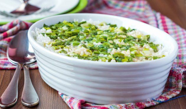 Запеканка из риса с зелёным луком