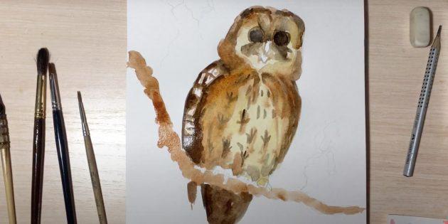 Как нарисовать сову: закрасьте ветку и сделайте птицу ярче