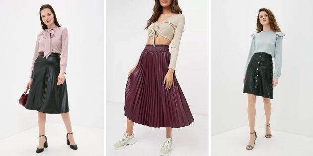 Модные юбки 2021года: юбки из искусственной кожи