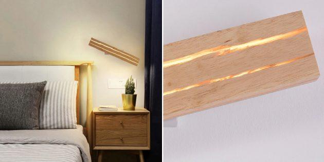 Деревянные аксессуары для дома: настенный светильник