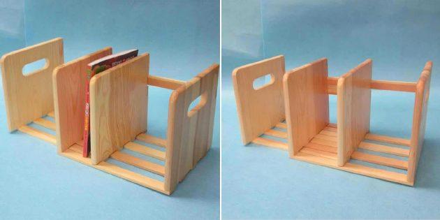 Деревянные аксессуары для дома: полочка для книг