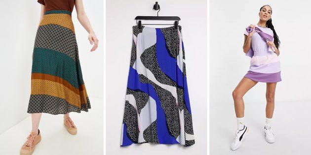 Модные юбки 2021года: юбки в расцветке колорблок