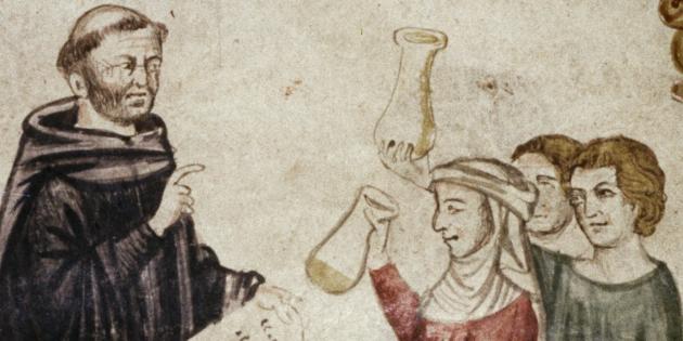 Средневековая медицина: приём анализов у монаха‑доктора Константина Африканского, XIV век.