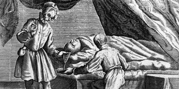 Средневековая медицина: кровопускание из головы, гравюра 1626г.