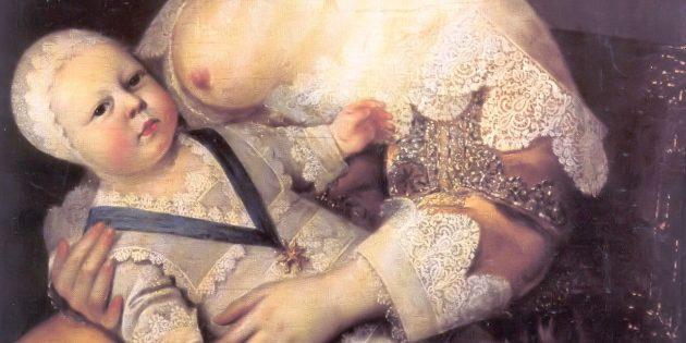 Дети Средневековья: Людовик XIV на руках кормилицы леди Лонже де ла Жиродьер