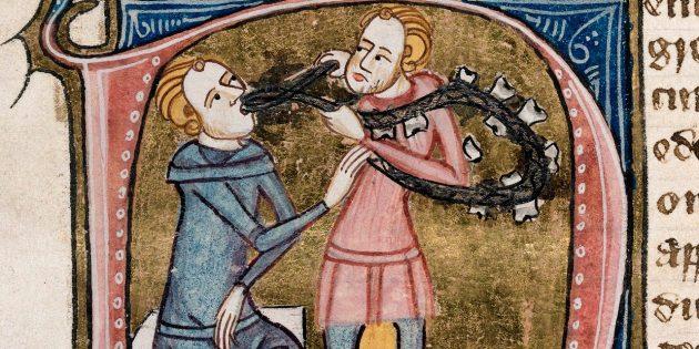 Средневековая медицина: удаление зубов. Трактат Omne Bonum, Лондон, 1360–1375гг.